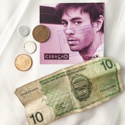 Enrique Iglesias was on the customs form and his face was plastered everywhere at the airport when we arrived at the airport. Curacao's currency is the Netherlands Antillean guilder.